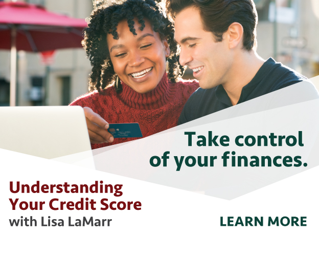 take control of your finances with an understanding your credit score workshop - man and woman looking at computer