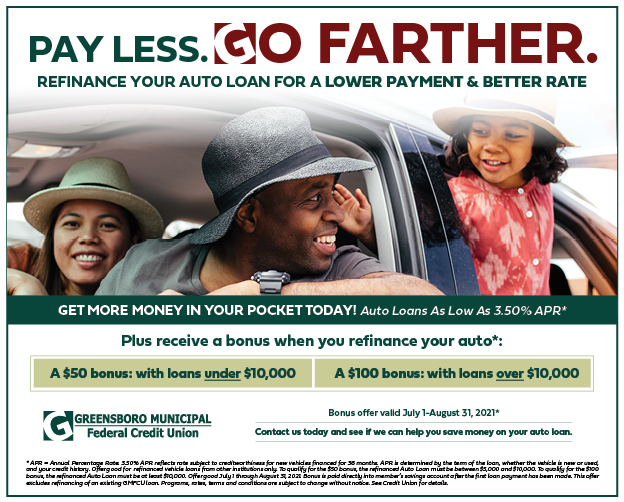 Refinance your auto loan in July or AUgust 2021 and be eligible for a bonus!