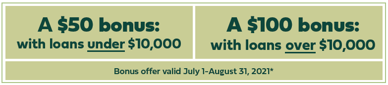 Receive a bonus when you refinance your auto with GMFCU in July or August 2021. $50 bonus for refinanced vehicles under $10,000; $100 bonus for refinanced vehicles over $10,000. See credit union for details.