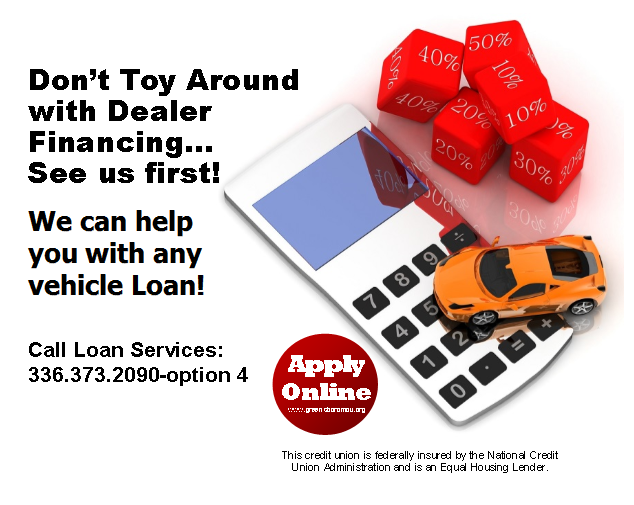 We can help you with any vehicle loan! Cal Loan Services at 336.373.2090-option 4