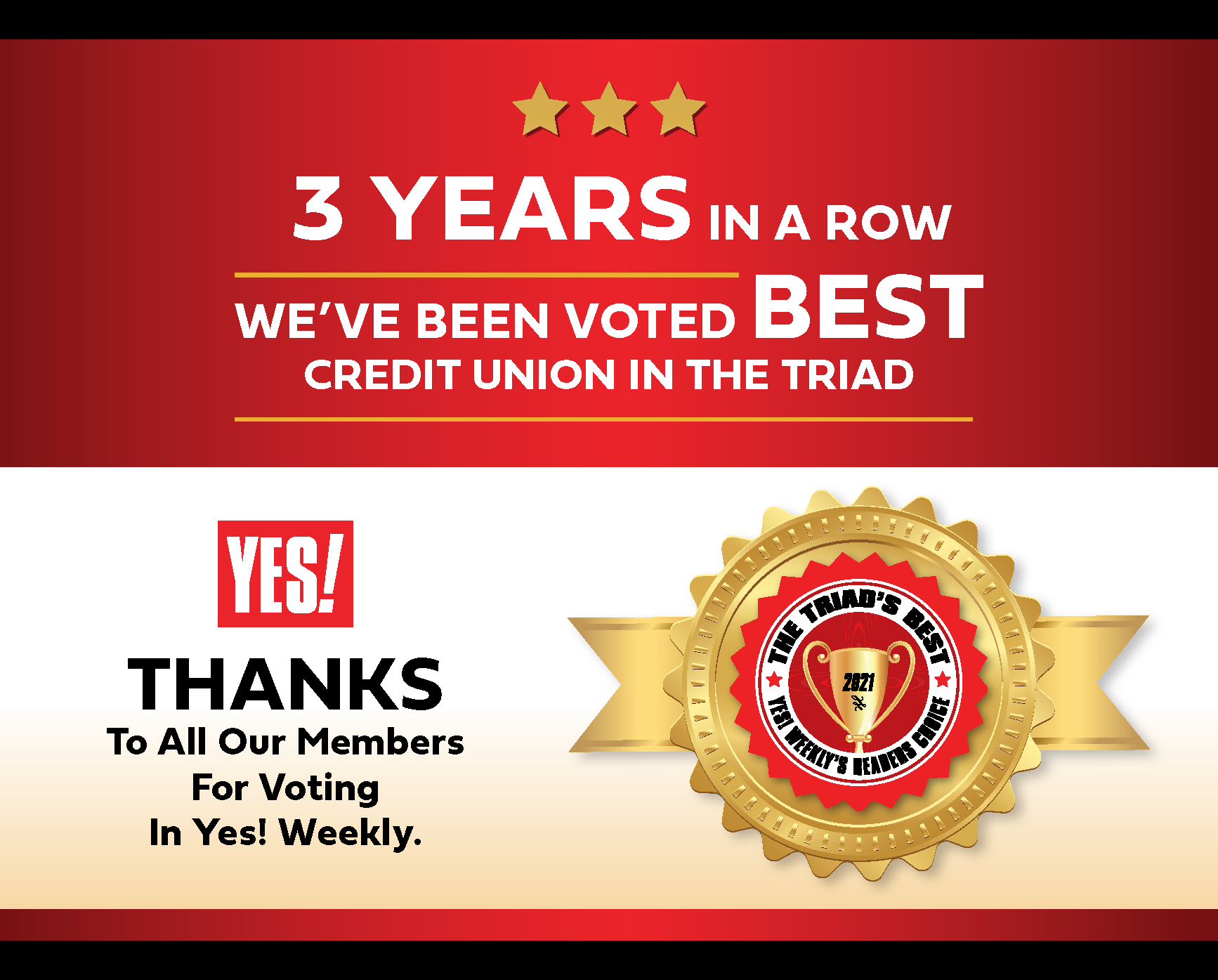 Thanks To All Our Members For Voting in Yes! Weekly to make us best credit union in the Triad 3 years in a row!