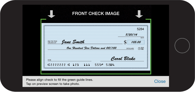 Example of  mobile check deposit