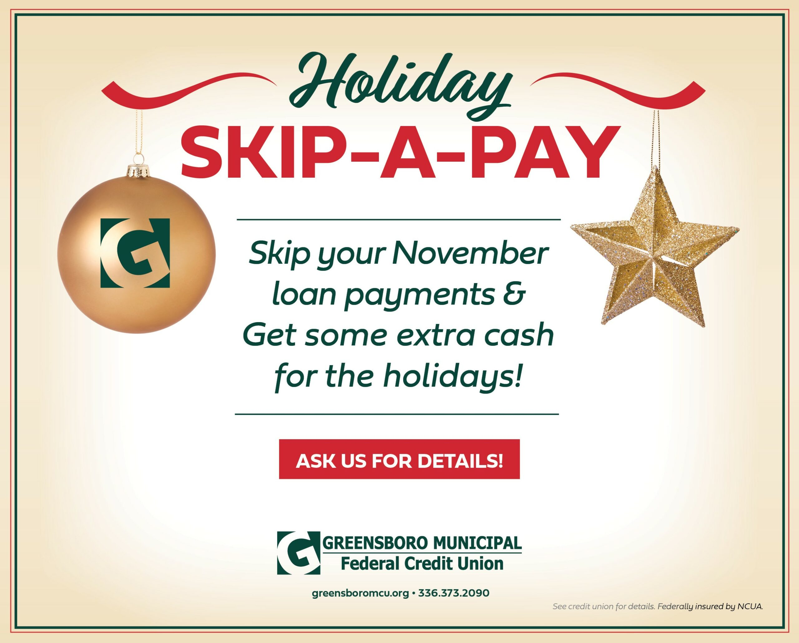 Skip your November 2021 loan payment. See credit union for details.
